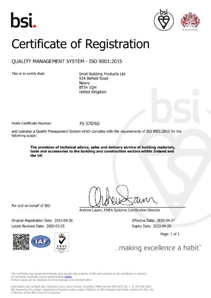 BSI Certificate of Registration ISO 9001:2015
