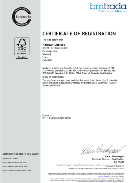 Halspan FSC Chain of Custody Certificate