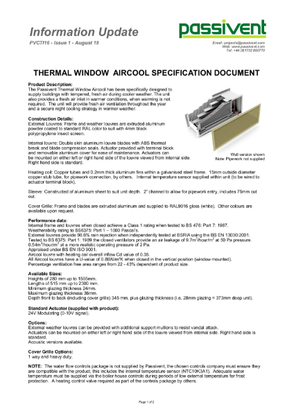 Passivent Specification Document - Aircool Window Ventilator - Thermal version