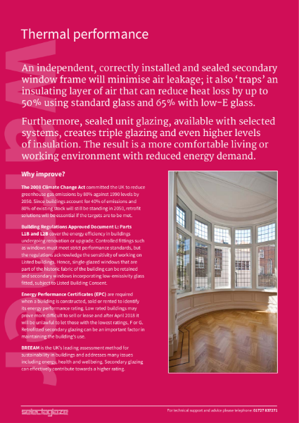 Thermal enhancing secondary glazing - energy saving for Listed buildings