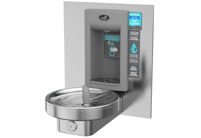 M140REBFY Fully Recessed Hands-Free bottle filler with a Radii Modular Drinking Fountain