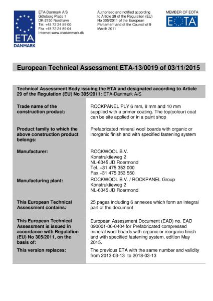European Technical Approval ETA-13/0019 Certificate