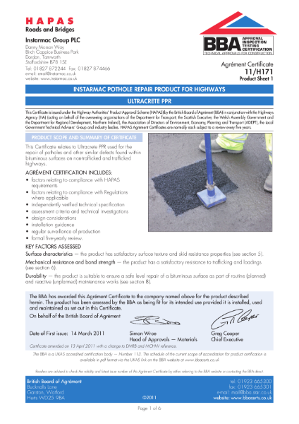 11/H171 Instarmac pothole repair product for highways