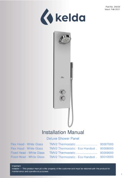 Kelda Showers - Installation Manual - Deluxe Shower Panel