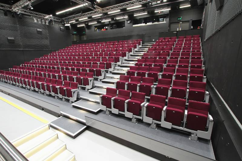 HIgh Specification retractable seating at The Cube - Southampton University Students' Union
