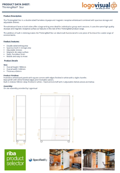 ThinkingWall Stor Mobile Storage Whiteboard Data Sheet
