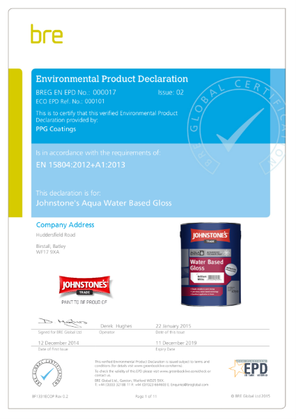 Johnstone's Aqua Water Based Gloss EPD