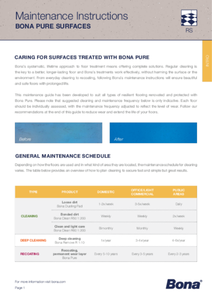 Maintenance Guide for Resilient Floors treated with Bona Pure