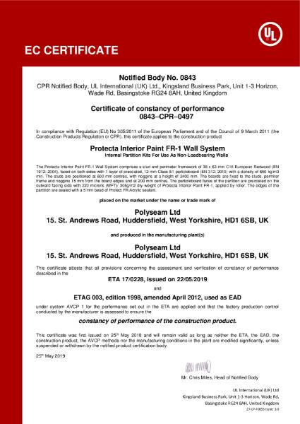Protecta Interior Paint FR-1 - EC Certificate