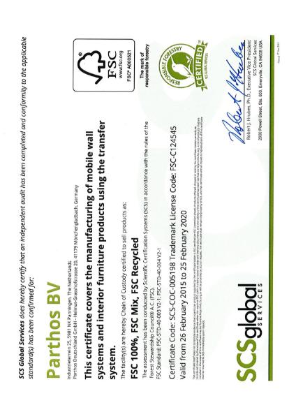 Parthos factory FSC Certificate