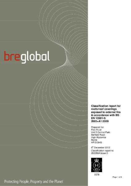 BS EN 13501-5:2005+A1:2009 - RubberBond