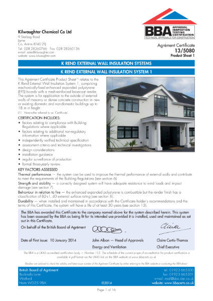 13/5080_1 K Rend External Wall Insulation System 1