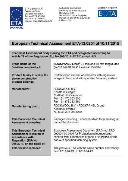 European Technical Approval ETA-13/0204 Certificate