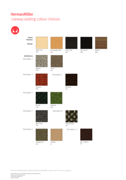 Leeway Seating - Colour Choices
