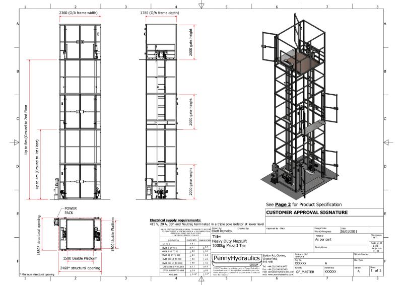 Mezz Heavy Duty -1000kg Goods Lift (3 Stops) Technical Data Sheet