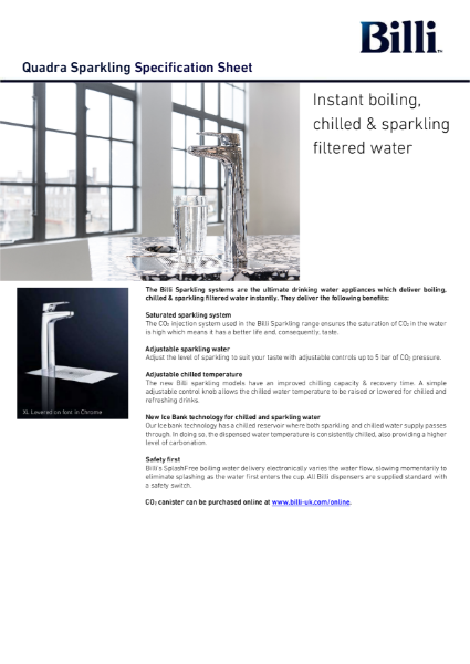 Billi Quadra Sparkling - Filtered Water System - Data Sheet