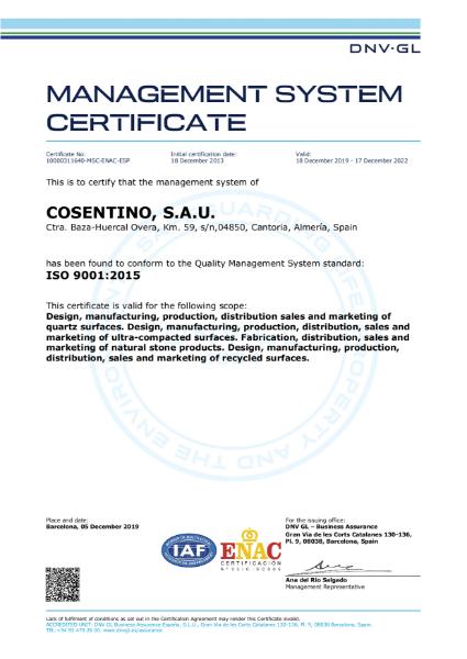 ISO 9001 Cosentino