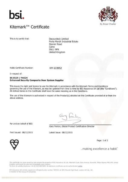 BSI Kitemark: BS 8529/PAS 24 Certificate