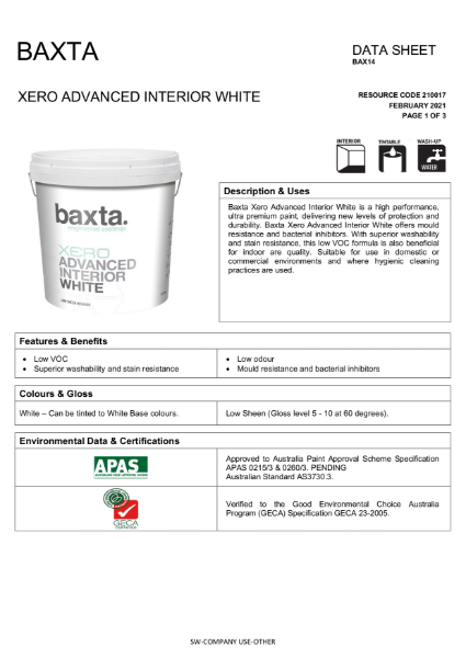 Baxta Xero Advanced Interior White