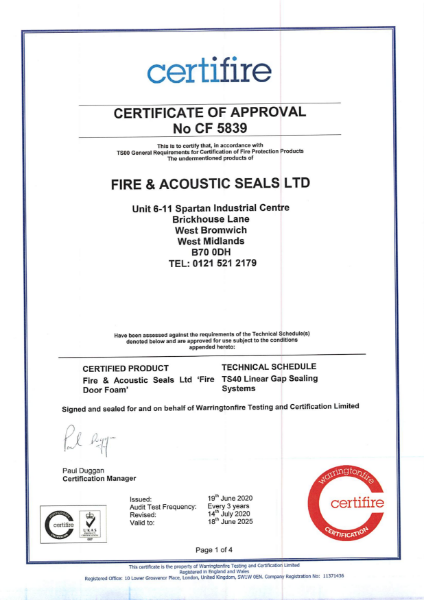 certifire Certificate of Approval No CF 5839