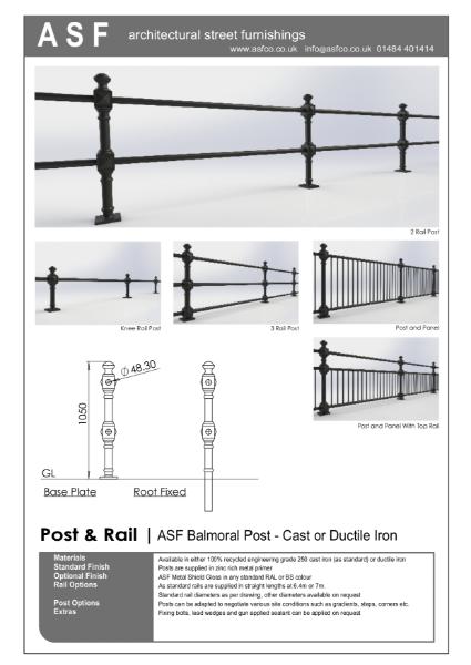 ASF Balmoral Cast Iron Post and Rail / Panel