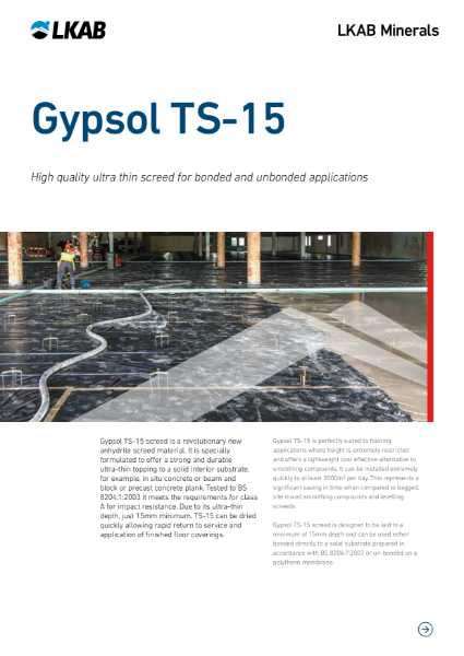 Gypsol TS-15 Ultra Thin Flowing Screed