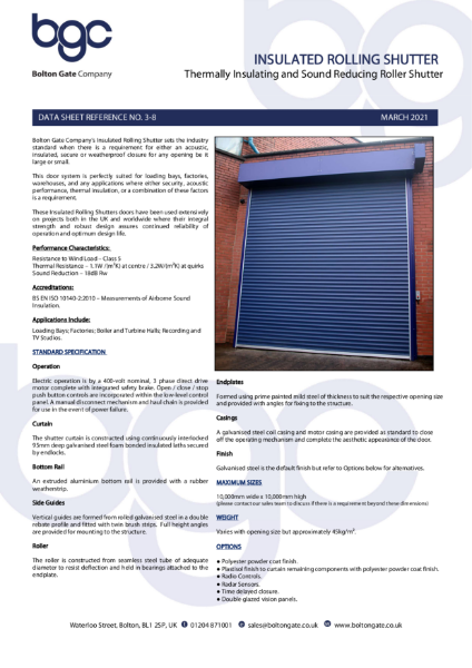 Insulated Roller Shutter - Thermally Insulating and Sound Reducing Roller Shutter
