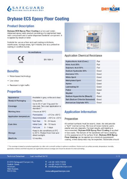 Drybase ECS Epoxy Floor Coating Data Sheet