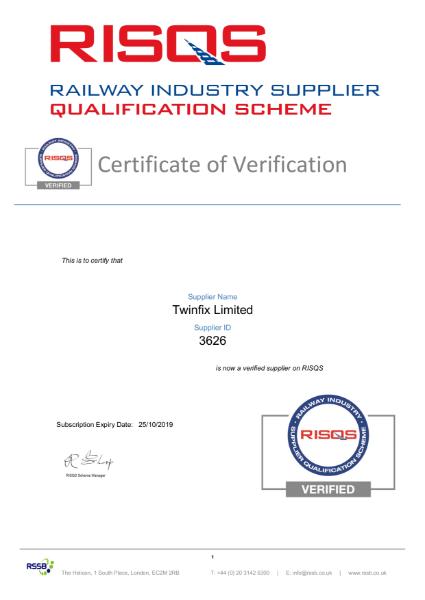 RISQS Certificate of Verification