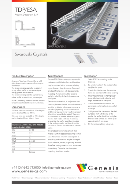 Swarovski Straight & Square Edge Tile Trims Datasheet