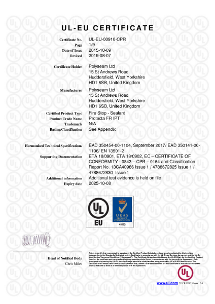 Protecta FR IPT - UL-EU Certificate