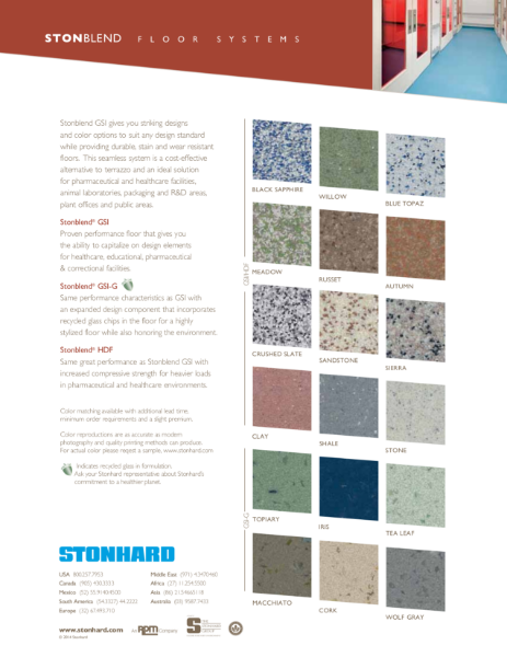 Stonblend Resin Flooring System Colour Chart