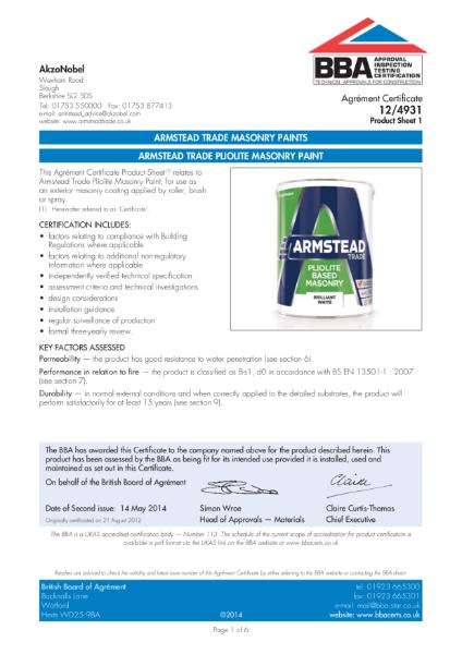 12 4931 (PS1) ARMSTEAD TRADE PLIOLITE BASED MASONRY PAINT
