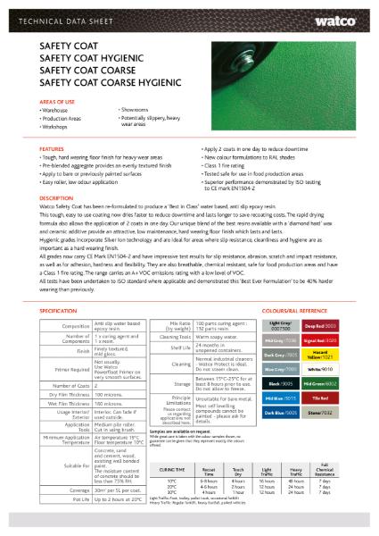 Data Sheet: Safety Coat Range