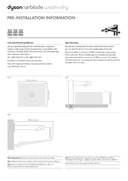 Pre-installation information - Dyson Airblade wash + dry