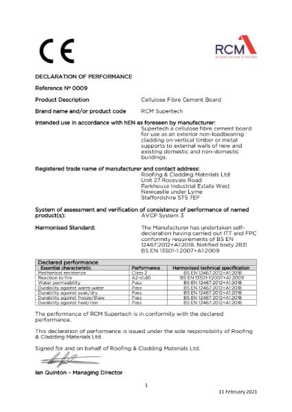 Declaration of Performance - Supertech
