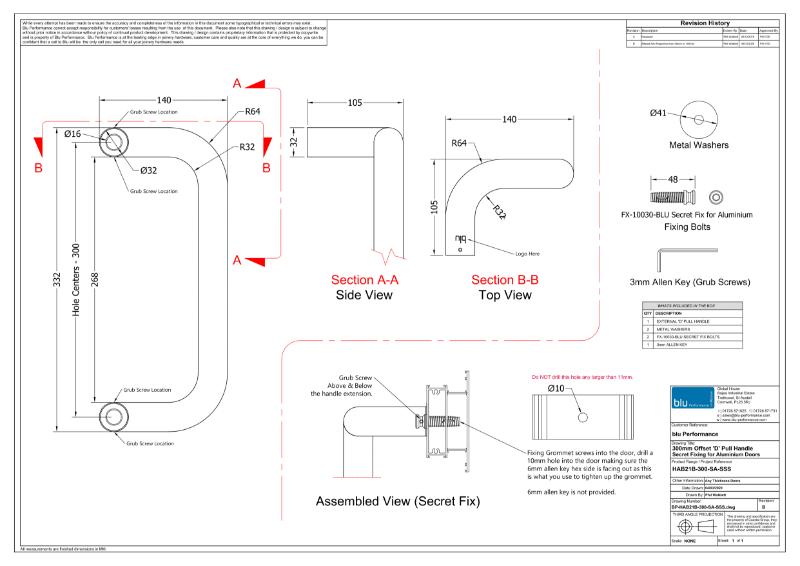 BLU™ - HAB21 Offset 'D' Commercial Pull Handle Secret Fix