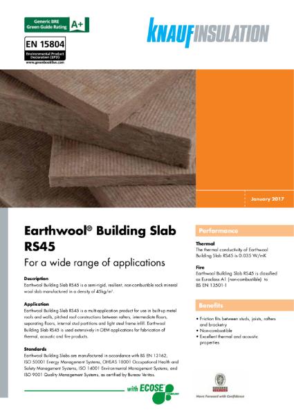 Knauf Insulation Building Slab RS45 Insulation Data Sheet