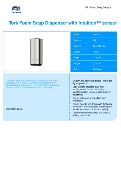 Tork Foam Skincare dispenser with intuition Image design