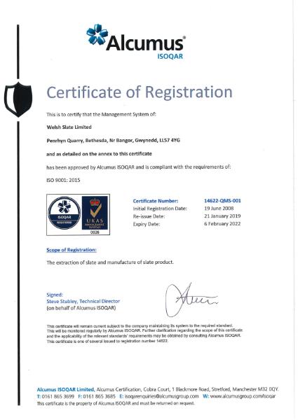ISO 9001: 2015 Penrhyn Quarry