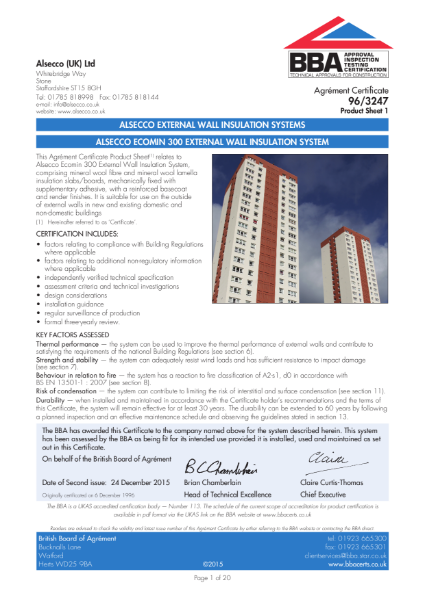AG963247_1 ALSECCO ECOMIN 300 EXTERNAL WALL INSULATION SYSTEM