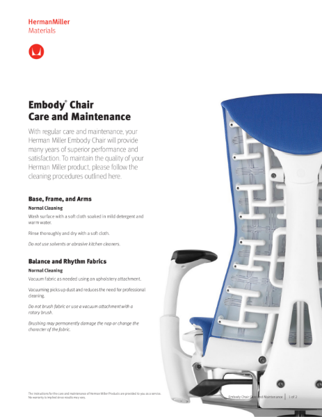 Embody Chair - Care & Maintenance Guide