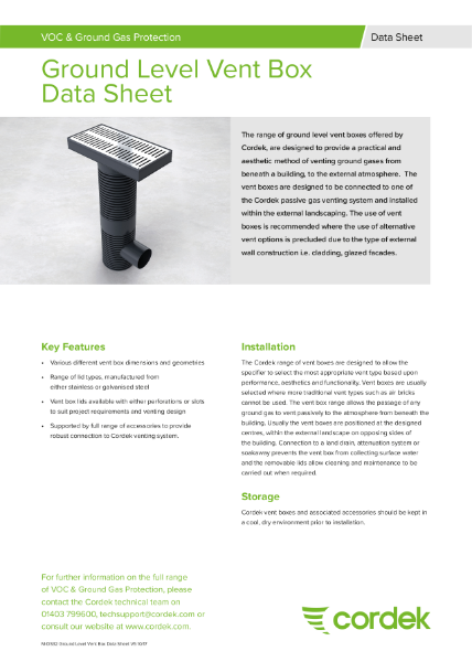 Cordek Ground Level Vent Box Data Sheet