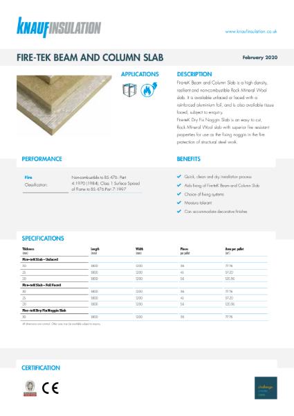 Knauf Insulation Fire-teK Beam and Column Slab and Fire-teK Dry Fix Noggin Slab Data Sheet