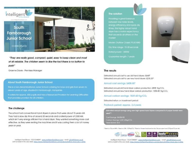 Hand Dryer Case Study (Junior School) - South Farnborough Junior School, Farnborough