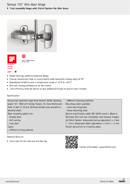 Product Range - Sensys Door Hinge System