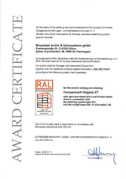 RAL certificate - Compactus® Dynamic Original XT