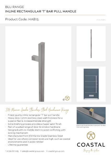 BLU™ - HAB15 Inline Rectangular 'T' Bar Pull Handle Data Card