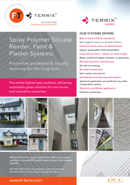 Terrix polymer silicate plaster ,paints ,render systems for new build and restoration properties.