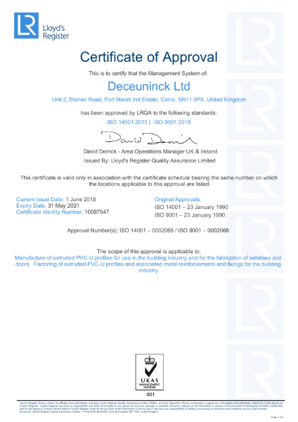 ISO 9001 / 14001 : 2015 Certificate